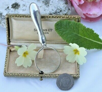 Lovely Small Antique Sterling Silver Magnifying Glass Hallmarked For 1919