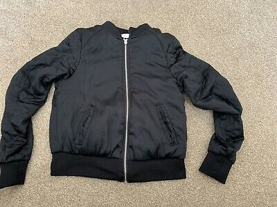 H&M Girls Black Bomber Jacket Lightweight Age 14+
