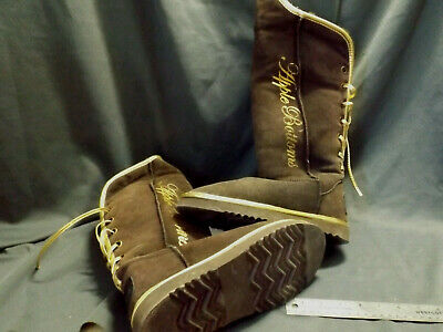 LADIES TALL Brown Suede Leather APPLE BOTTOM WINTER BOOTS Size 10 Euc