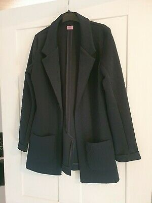 Navy blue open front unlined jacket blazer girls florence & fred 11 12 years