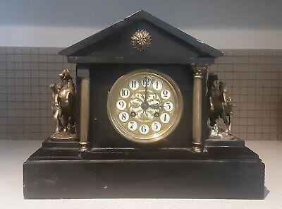 Antique Victorian French Striking Mantel Clock by Japy Freres in Black Slate