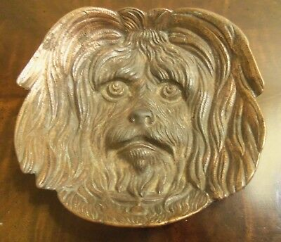 Antique Cast Iron / Copper-plate Spaniel / Lhasa Apso Dog Coin Pin Tray