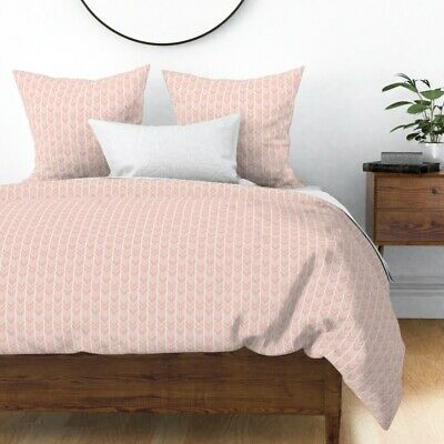 Blush Pink Pale Pink Chevron Herringbone Light Sateen Duvet Cover by Roostery