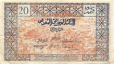 Morocco  20  Francs ND. 1943  P 39  Series L 271  Circulated Banknote RCV
