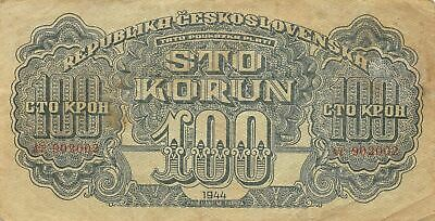 Czechoslovakia  100  Korun 1944  Series  AT  WWII Issue  Circulated Banknote K18
