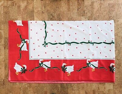 "Vintage Vera Neumann Christmas Tablecloth Geese Holly Berries 102"" By 59"""
