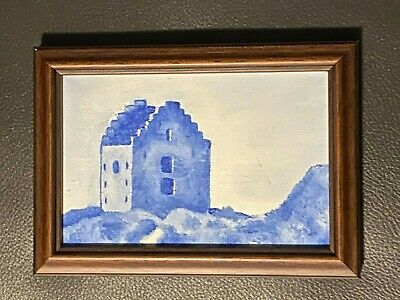 Small Blue and White House Painting in Frame