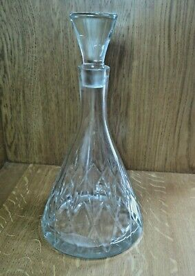 Very Large and Tall Cut Glass Contemporary Wine Whiskey Decanter [Nice Example]