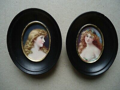 Pair  of miniature prints of two girls in miniature ovals