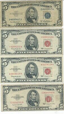 Lot (4) $5 Silver Cert & U.s. Notes-1953 1963-Various Grades-1 Star Note-Free Sh