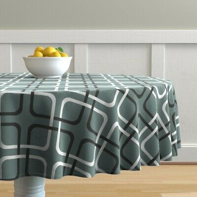 Round Tablecloth Squircles Mid Century Modern Retro Masculine Cotton Sateen