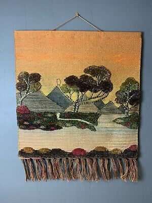 Vintage Woven Wall Hanging Jute Landscape 70s Trees Mountains