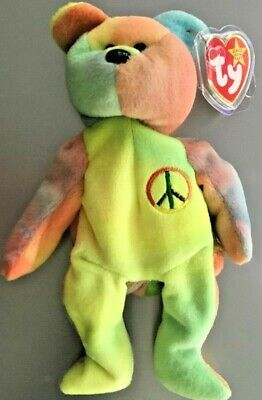Peace Bear Ty Beanie Baby #4053 Mwmt Absolutely Gorgeous - Great Colors!!