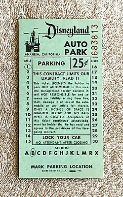 Late 1950s - Early 1960s Disneyland Green Auto Park Parking Ticket