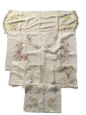6 pc vintage Embroidered Linens Handmade table cloth Runner Placemat pillow case
