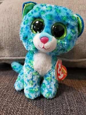 "TY Beanie Boos - Leona the Leopard-  6"" Regular - 2014 - with red tag"