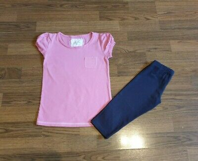 Girls Outfit Set Next Pink Top T-shirt  And M&S Navy Blue Leggings  5-6 Years