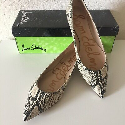 Sam Edelman Sally Snake Print Pointed Toe Leather Flats Shoes Size 8.5 NEW