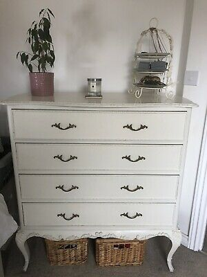 Vintage French Style Chest Of Four Drawers Tall Large