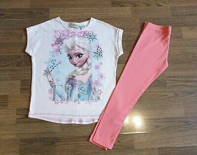 Girls Next Frozen ELSA Outfit Set T-shirt and Leggings 7-8 Years