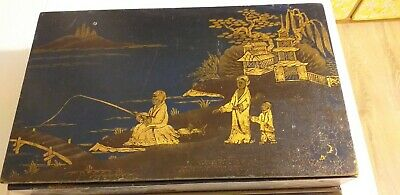Antique Oriental Japanese Lacquered Wooden Storage Box