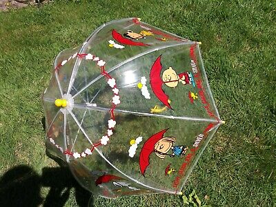 Vintage Charlie Brown Gang, Snoopy & Woodstock Dome Umbrella 1965