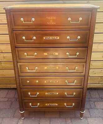 Lovely Antique 19Th Century Apothecary Shop Tallboy Drawers, C1900