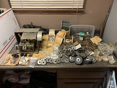 Vintage Curtis 2H Key Cutter Duplicating Machine HUGE LOT Blades Blank Deburring