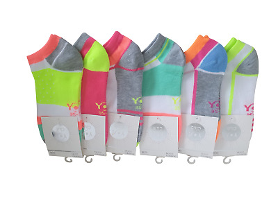 Women's Ladies' Girls Trainer Liner Socks Pack of 1 Fluo Size UK 3-5  EU 35-38