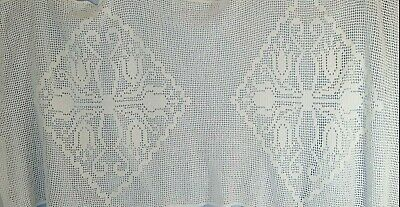 "VINTAGE Ivory Lace RUNNER 30"" by 68"" Couch Drape TABLE RUNNER Nice"