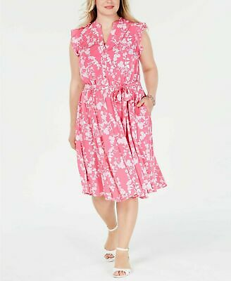 Charter Club Womens PLUS Pink White Belted Floral-Print Dress Size 14W 20W 22W