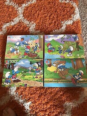Lot of Four Vintage 1980s Smurf Puzzles all 100 Count Listing #1