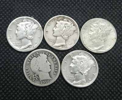 Lot of (5) 90% Silver Dimes | Barber & Mercury | Some In XF/AU Condition!