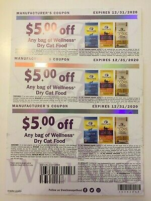 Wellness Dry Cat Food coupons $5 x 3 expires 12/31/2020