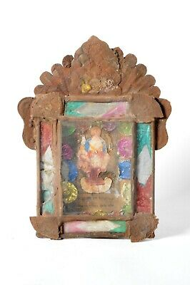 Old retablo / nicho print in tin and panted glass frame. Crucifiction.
