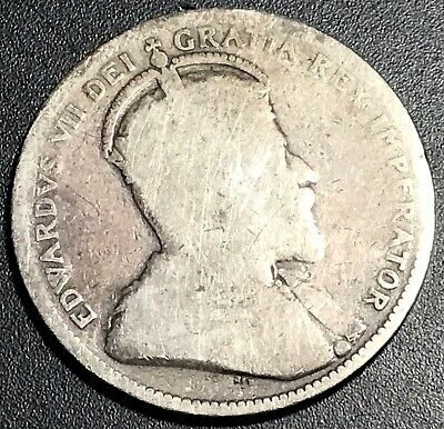 Canada 1906 Silver Coin / 25 Cents/ Edward Vii Small Crown Circulated Ungraded