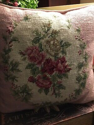 "Vintage Needlepoint Pillow-Pink W/Roses-11"" Sq-Light Pink Velvet Back-FREE SHIP!"