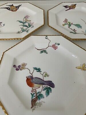 "Antique 1800's Copeland Spode Bird & Botanical Plates Scalloped Gilt 8"" Set 3"