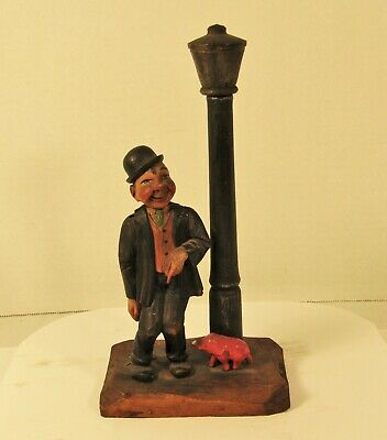 Vintage Anri Wooden Carved Figural Drunk Lamp Post Opener Corkscrew