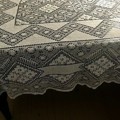 "Elaborate Antique Needle-weaving Hand Made Needle-embroidery Tablecloth 84""x466"