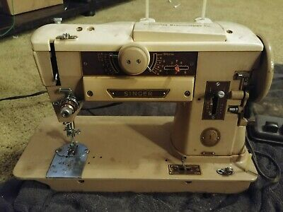 Vintage Singer Sewing Machine 401A Slant-O-Matic With Foot Pedal And Power Cord