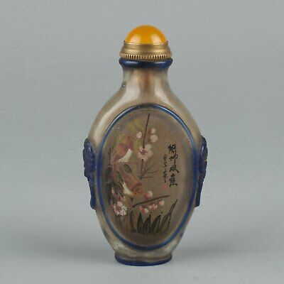 Chinese Exquisite Handmade flower bird Glass snuff bottle