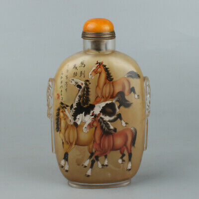 Chinese Exquisite Handmade horse Inner painting Glass snuff bottle