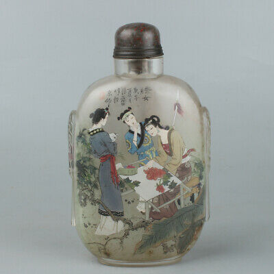 Chinese Exquisite Handmade beauty Inner painting Glass snuff bottle