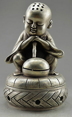 Collectible Decorated Handwork Old Tibet Silver Carve Monk Prayer Incense Burner