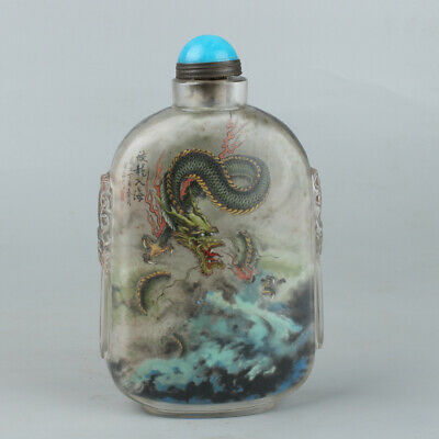 Chinese Exquisite Handmade Dragon Inner painting Glass snuff bottle