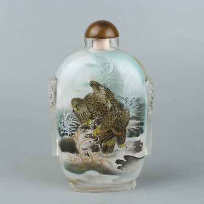 Chinese Exquisite Handmade eagle Inner painting Glass snuff bottle