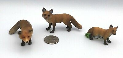 Schleich RED FOX ADULTS & KIT Baby Animal figures 2010 Retired 14649 14648 14338