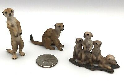 Schleich ADULT MEERKAT Standing & Sitting & Babies 3 Figures Retired 14368 14362