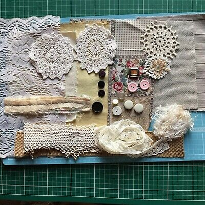 Inspiration Kit Shabby Chic Junk Journal- Doily Lace Snippets Charms Buttons Etc